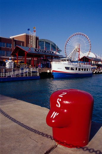 Bollard on a concrete pier, Navy Pier, Chicago, Illinois, USA : Stock Photo
