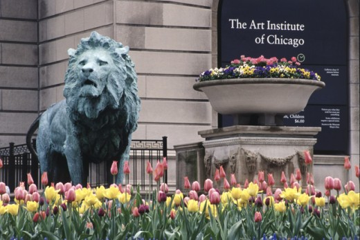 Stock Photo: 1486-3651 Close-up of a sculpture of a lion in front of an art museum, Art Institute of Chicago, Chicago, Illinois, USA