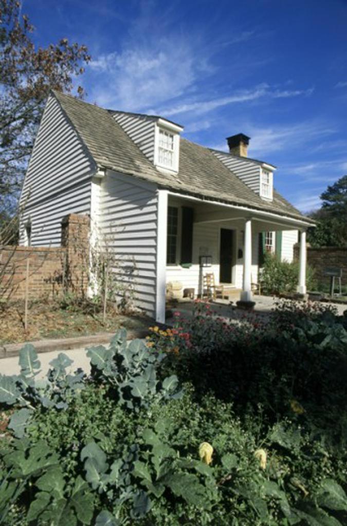 Stock Photo: 1486-3799 Vegetable garden in front of a cookhouse, Stone Mountain Park, Georgia, USA