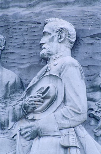 Stock Photo: 1486-3807 USA, Georgia, Stone Mountain Park, bas relief of Robert E. Lee