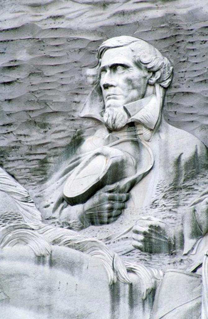 Stock Photo: 1486-3808 USA, Georgia, Stone Mountain Park, bas relief of Jefferson Davis