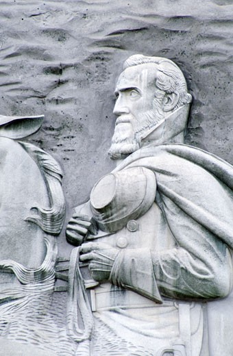 USA, Georgia, Stone Mountain Park, bas relief of Jefferson Davis : Stock Photo