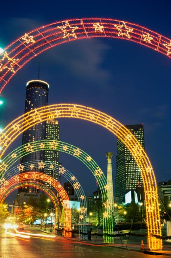 Centennial Olympic Park lit up, Atlanta, Georgia, USA : Stock Photo