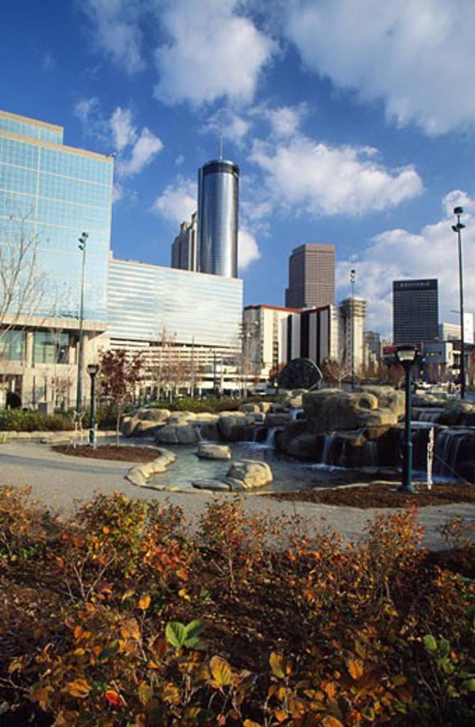 USA, Georgia, Atlanta, water feature near office buildings : Stock Photo