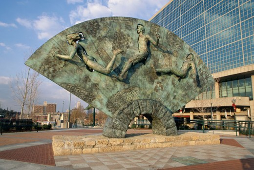 Sculptures in front of a building, Tribute Sculpture, Centennial Olympic Park, Atlanta, Georgia, USA : Stock Photo