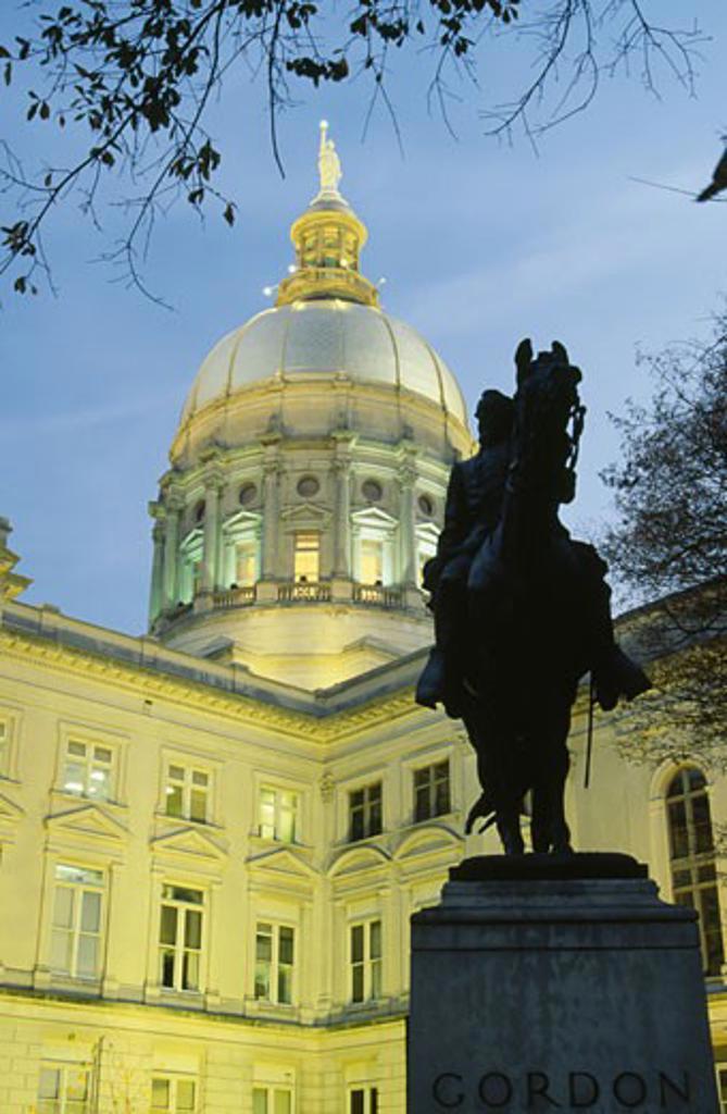 Stock Photo: 1486-3826 USA, Georgia, Atlanta, John B. Gordon statue outside State Capitol building