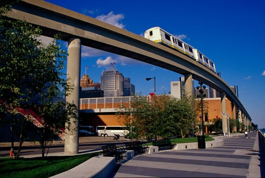 Low angle view of a passenger train on an elevated railway track, Detroit, Michigan, USA : Stock Photo