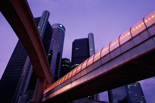 Stock Photo: 1486-407B Walkway with skyscrapers in the background, Renaissance Center, Detroit, Michigan, USA