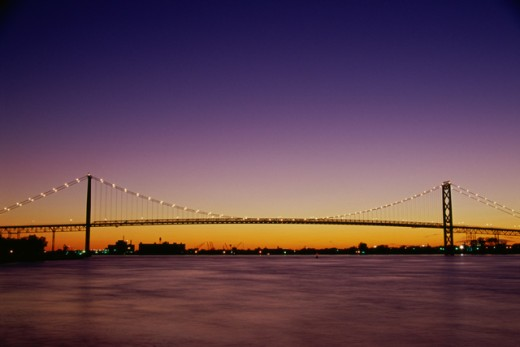 Stock Photo: 1486-409 Bridge across a river, Ambassador Bridge, Detroit, Michigan, USA