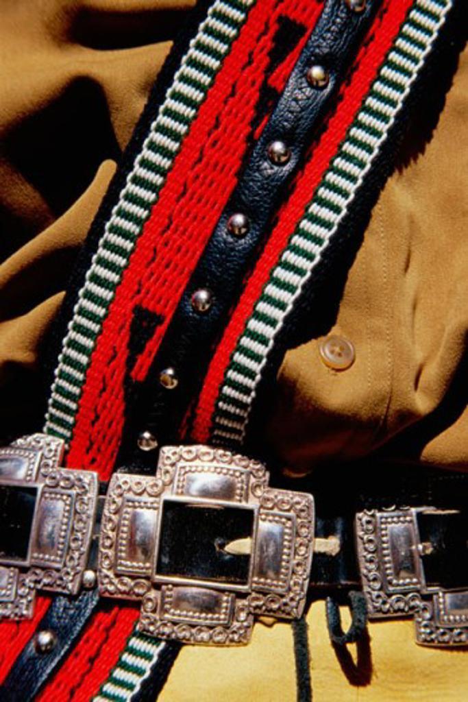 Stock Photo: 1486-4105 Navajo Indian Ceremonial Dress Indian Pueblo Cultural Center Albuquerque, New Mexico, USA