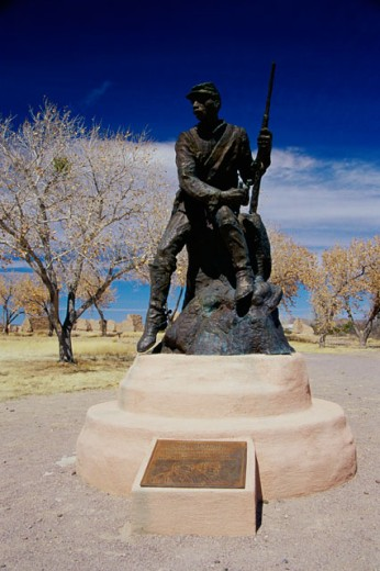 Buffalo Soldier Statue Fort Selden State Monument New Mexico, USA : Stock Photo