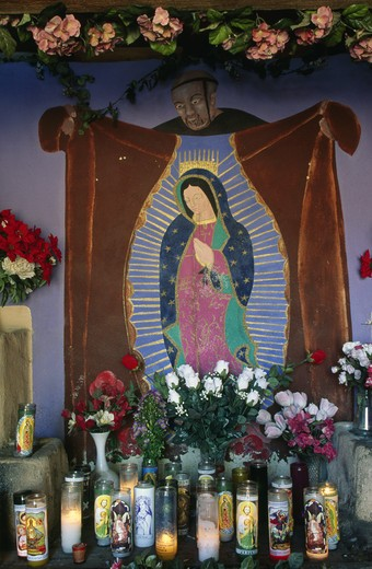 USA, New Mexico, Albuquerque, Nuestra de Guadalupe Chapel, painting representing Virgin Mary of Guadelupe : Stock Photo