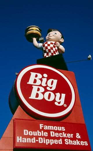 Signboard of a restaurant, Big Boy Restaurant, Detroit, Michigan, USA : Stock Photo
