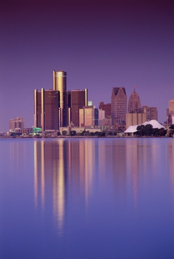 Stock Photo: 1486-419A Buildings on the waterfront, Detroit, Michigan, USA