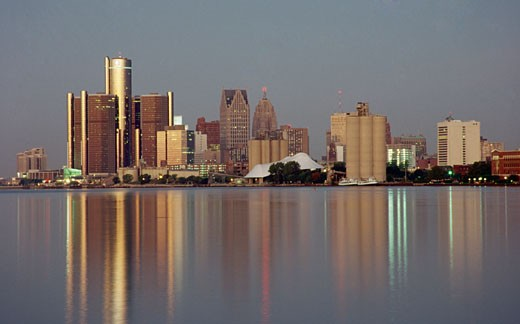 Buildings at the waterfront, Detroit River, Detroit, Michigan, USA : Stock Photo