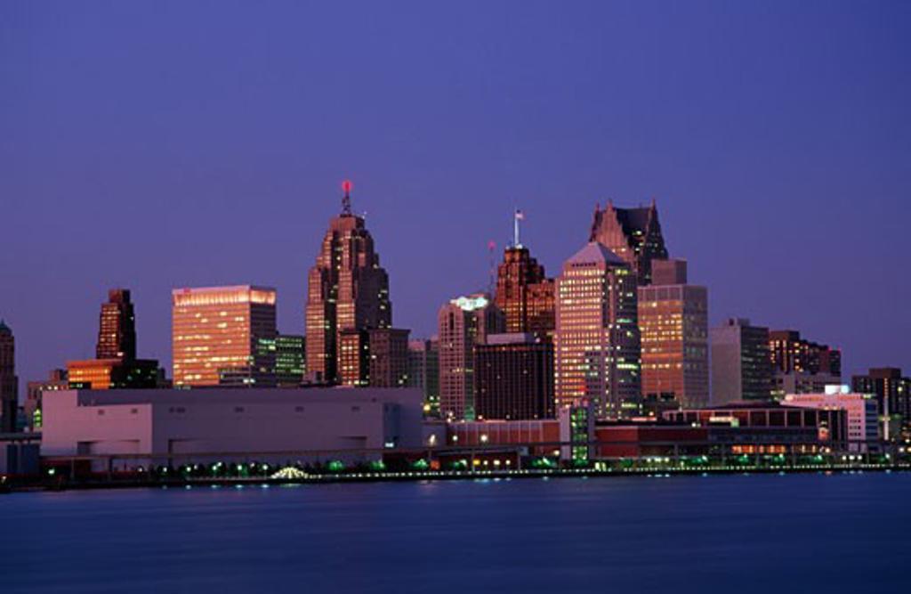 City at the waterfront, Detroit River, Detroit, Michigan, USA : Stock Photo