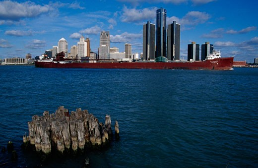 Stock Photo: 1486-421B Buildings at the waterfront, Detroit River, Detroit, Michigan, USA