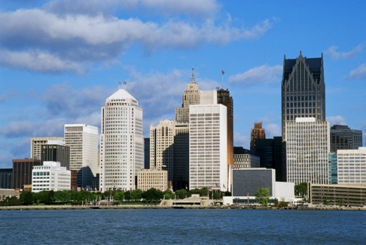 Stock Photo: 1486-424 Skyscrapers on the waterfront, Detroit, Michigan, USA