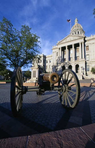USA, Colorado, Denver, State Capitol, facade with the cannon on the foreground : Stock Photo