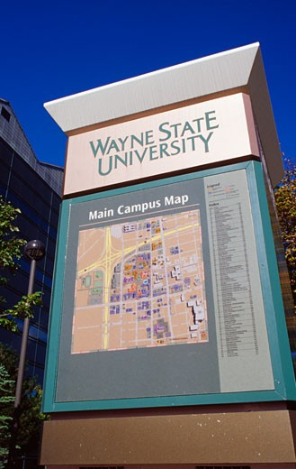 Stock Photo: 1486-427 Map column in a university campus, Wayne State University, Detroit, Michigan, USA