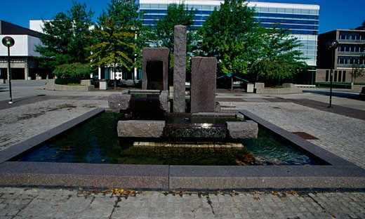 Fountain in a university campus, Wayne State University, Detroit, Michigan, USA : Stock Photo