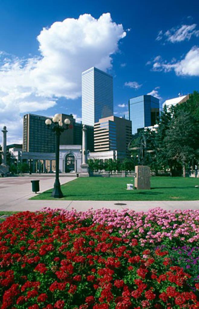 Buildings in a city, Civic Center Park, Denver, Colorado, USA : Stock Photo