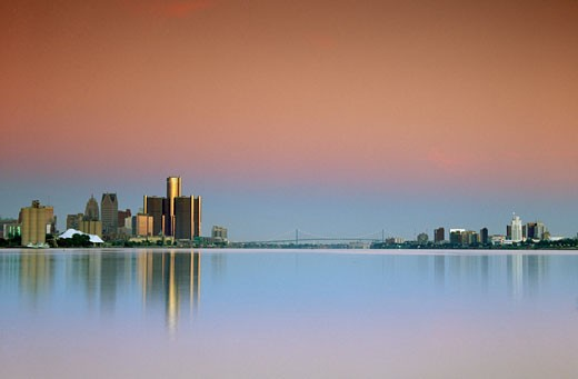 Stock Photo: 1486-430A City skylines of Detroit, Michigan, USA and Windsor, Ontario, Canada