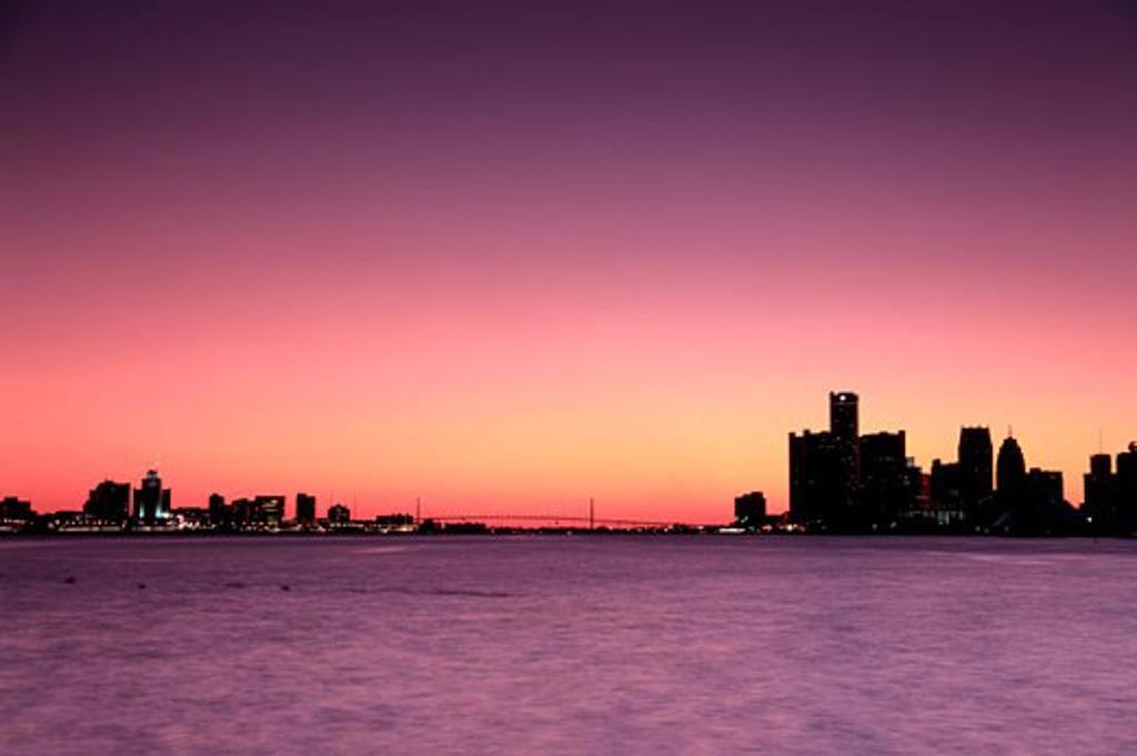 Detroit, Michigan, USA Windsor, Ontario, Canada : Stock Photo