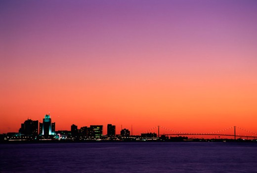 Sunset over a city, Windsor, Ontario, Canada : Stock Photo