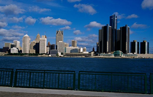 Stock Photo: 1486-436 City at the waterfront, Detroit River, Detroit, Michigan, USA