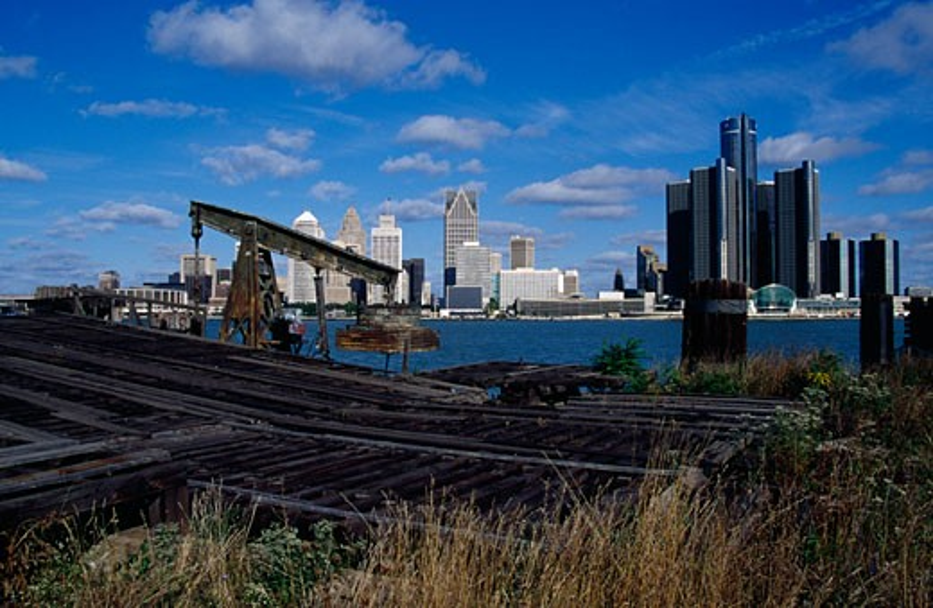 Stock Photo: 1486-438 City at the waterfront, Detroit River, Detroit, Michigan, USA
