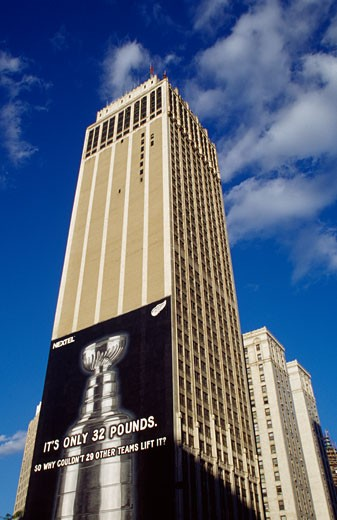 Low angle view of a building, Cadillac Place, Detroit, Michigan, USA : Stock Photo