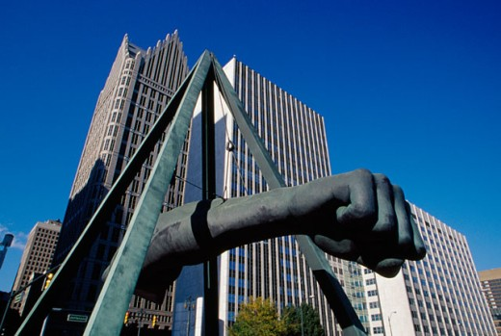 Low angle view of a sculpture, Joe Louis Sculpture, Detroit, Michigan, USA : Stock Photo