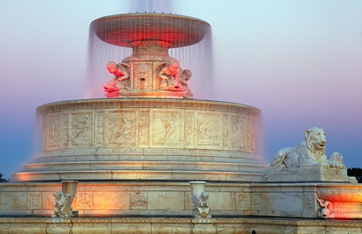 Fountain lit up in a park, Scott Memorial Fountain, Belle Isle Park, Detroit, Michigan, USA : Stock Photo