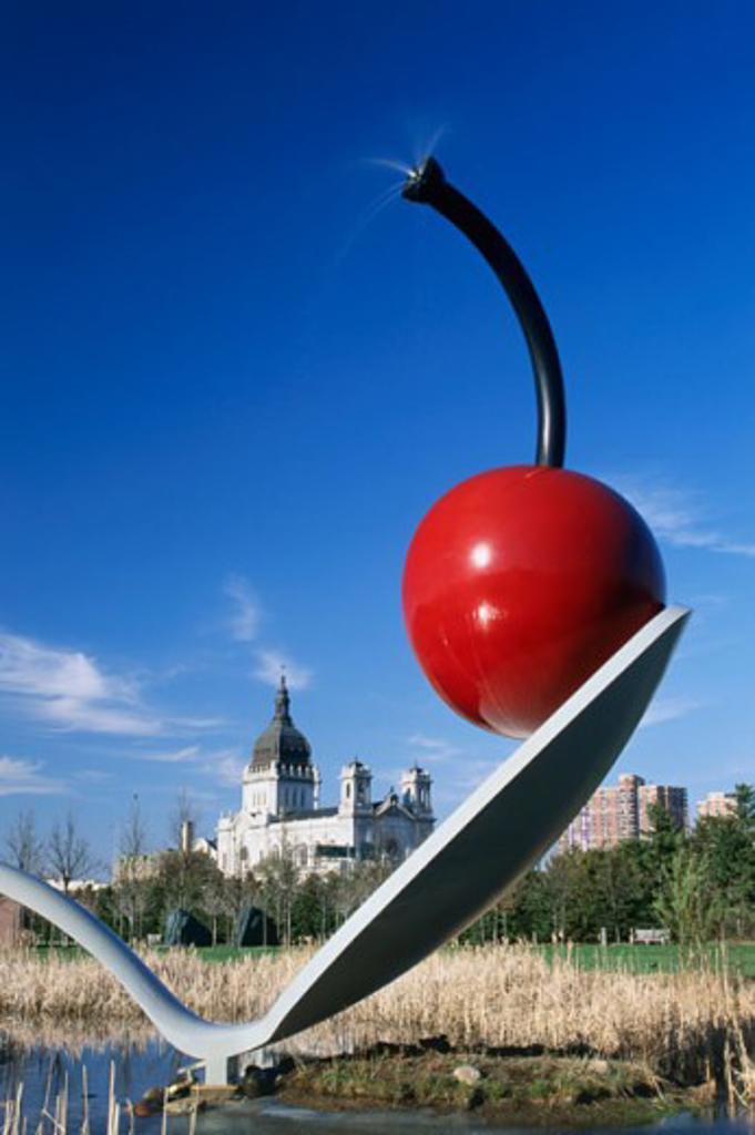 Close-up of a sculpture in a garden, Spoonbridge and Cherry, Minneapolis Sculpture Garden, Minneapolis, Minnesota, USA : Stock Photo