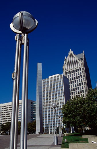 Stock Photo: 1486-456 Street lights in front of buildings, Comerica Tower, Municipal Center, Detroit, Michigan, USA