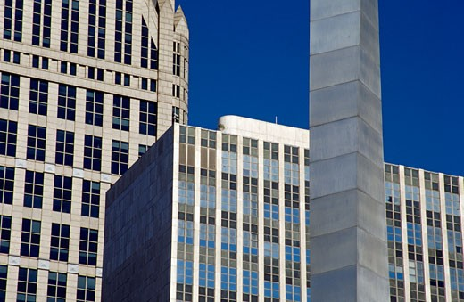 Stock Photo: 1486-457 Obelisk in front of buildings, Comerica Tower, Municipal Center, Detroit, Michigan, USA