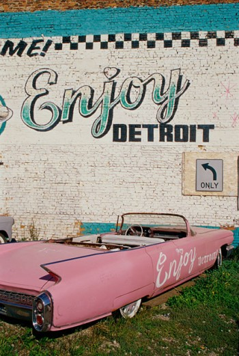 Pink convertible car in front of a building, Detroit, Michigan, USA : Stock Photo