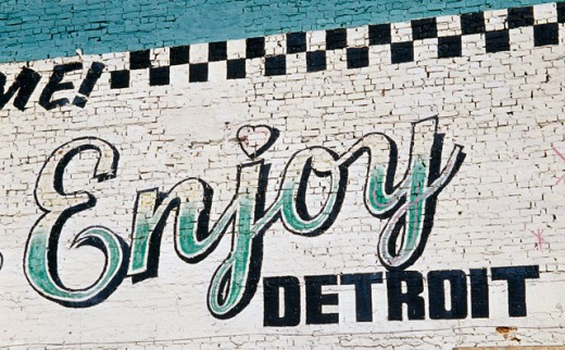 Stock Photo: 1486-466 Commercial sign painted on a brick wall, Detroit, Michigan, USA