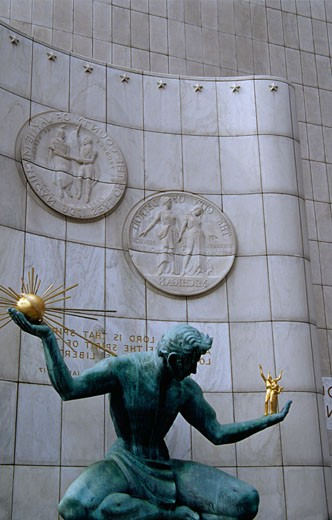 Stock Photo: 1486-473 Statue in front of a building, Spirit Of Detroit, Coleman A. Young Municipal Center, Detroit, Michigan, USA