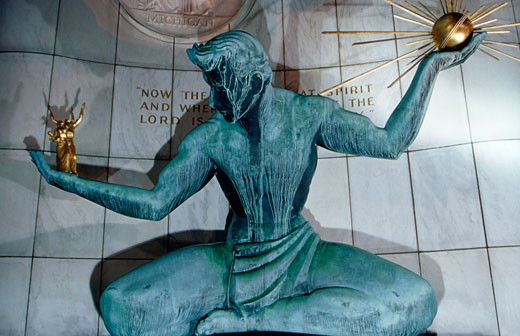 Stock Photo: 1486-474 Close-up of a statue, Spirit Of Detroit, Coleman A. Young Municipal Center, Detroit, Michigan, USA