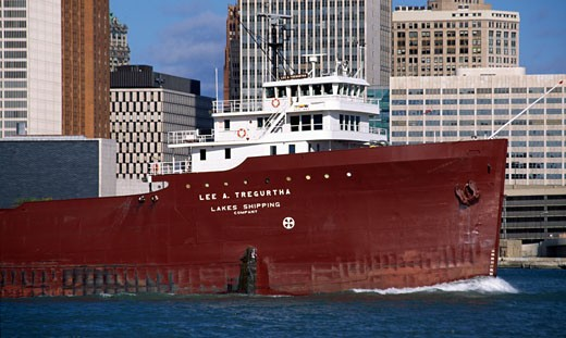 Stock Photo: 1486-477 Ship at a harbor, Detroit River, Detroit, Michigan, USA
