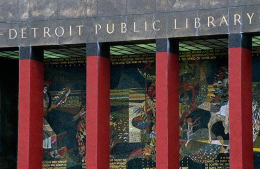 Facade of a public library, Detroit Public Library, Detroit, Michigan, USA : Stock Photo