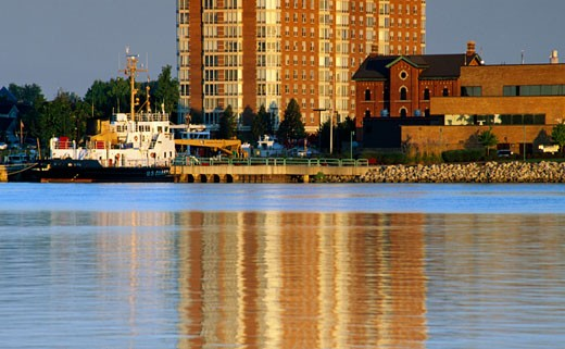 Coast guard station at the waterfront, Detroit River, Detroit, Michigan, USA : Stock Photo