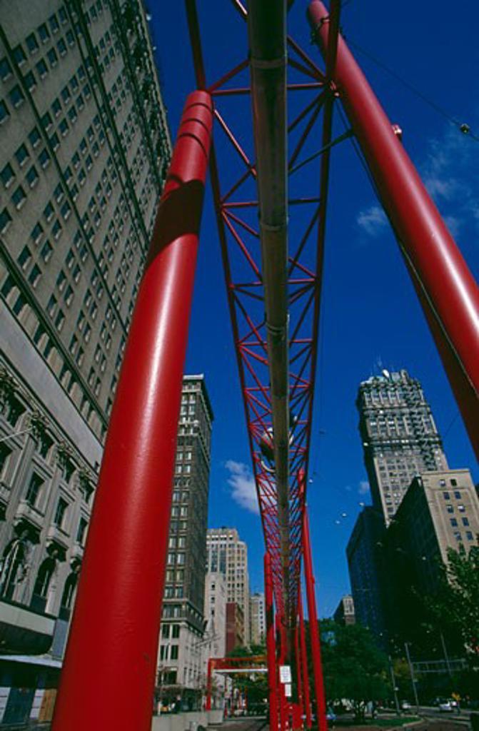 Stock Photo: 1486-484 Low angle view of a bridge, Detroit, Michigan, USA