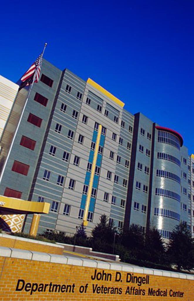Facade of a healthcare center, Department Of Veterans Affairs Detroit Medical Center, Detroit, Michigan, USA : Stock Photo