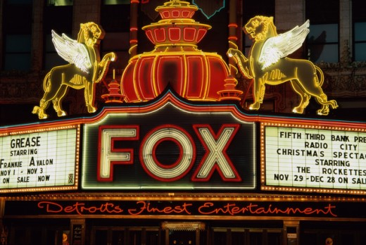 Close-up of a neon movie theater sign lit up at night, Fox Theater, Detroit, Michigan, USA : Stock Photo