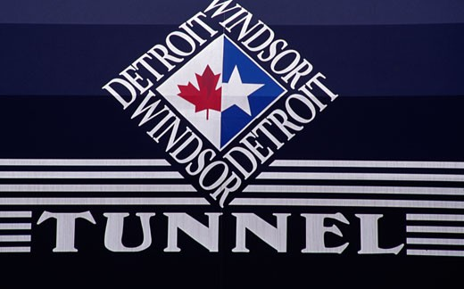 Close-up of a signboard, Detroit-Windsor Tunnel, Detroit, Michigan, USA : Stock Photo