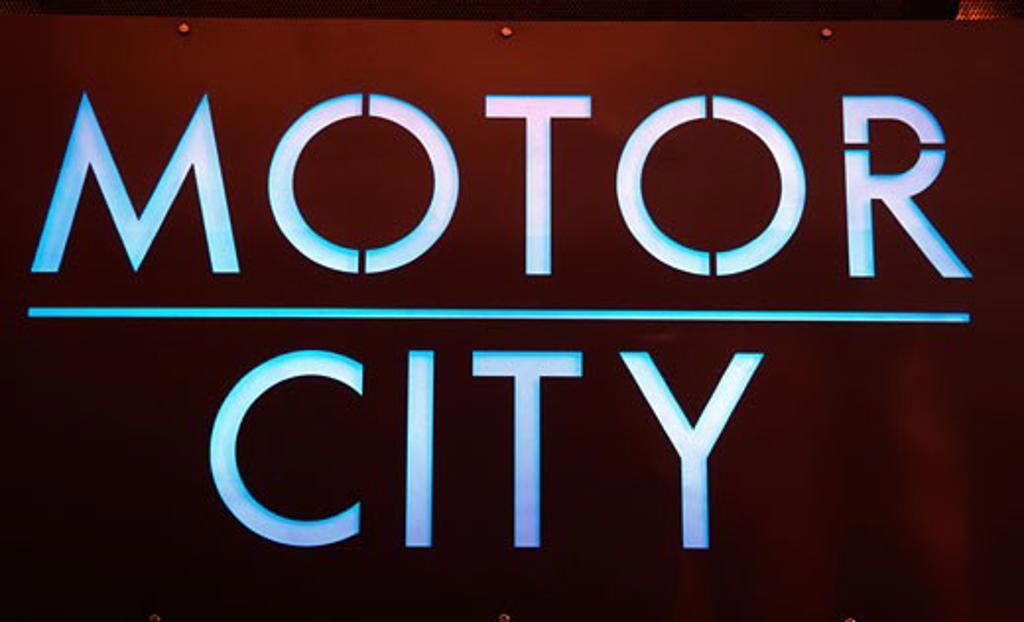 Stock Photo: 1486-492 Close-up of Motor City neon sign, Detroit Historical Museum, Detroit, Michigan, USA