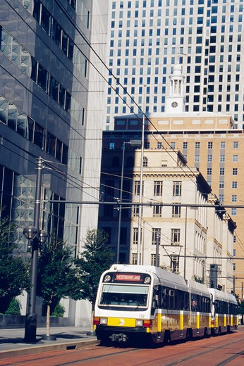 USA, Texas, Dallas, cable car in downtown : Stock Photo